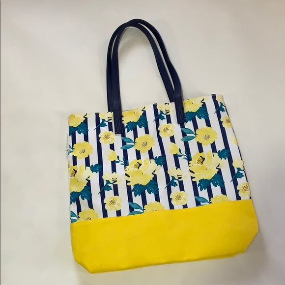 ae56bd6d7 Von Maur Bags | Nwot Yellow Navy White Floral Striped Tote Bag ...